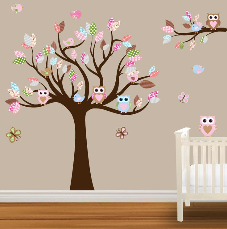Baby Nursery Wall Stickers Children Wall Decal  Owl wall decal Birds butterflies. $109.99, via Etsy.