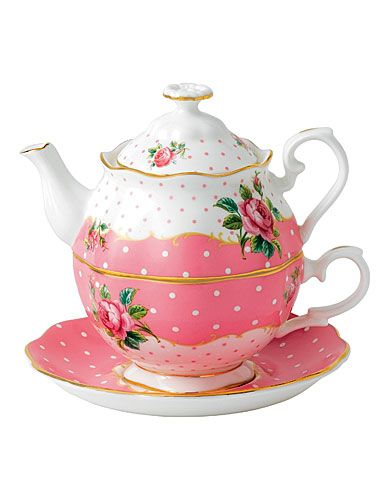 "New for 2013!!!   ""New Country Roses Cheeky Pink""   Vintage Tea-for-One   ""Cheeky Pink features classically rendered roses with a fashion forward splash of beguiling pink. The 5- Piece Place Setting is awash in fresh pink and white dots with signiture pink rims on scalloped bone china and luxurious gold banding""   To see all the new pieces:  http://www.royalalbertpatterns.com/"