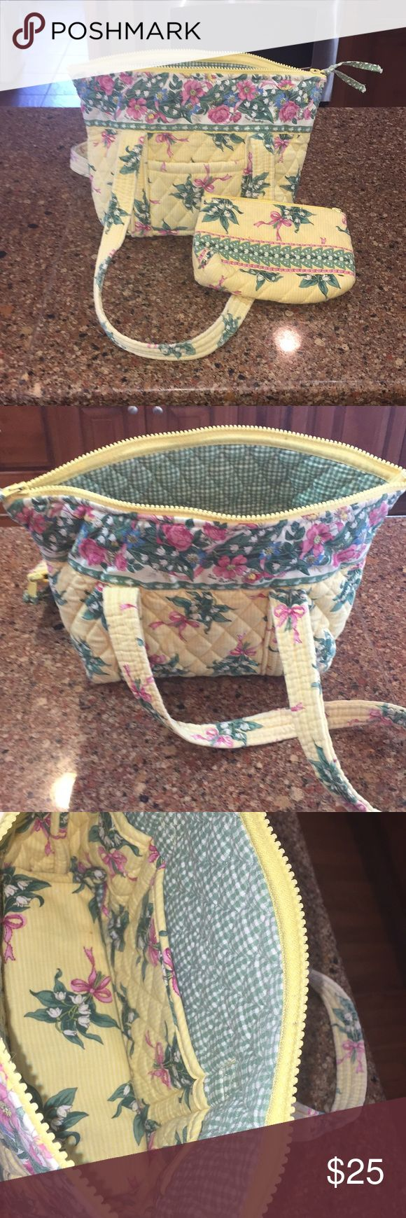 "VERA BRADLEY SHOULDER BAG/COIN PURSE Gently used yellow/multi colored shoulder bag and zippered coin purse 👛  12""L X 9""H X 4""D 12"" strap drop  Exterior has slip pocket  Interior has 6 slip pockets  Zippered closure  😊😊😊😊😊😊 Vera Bradley Bags"
