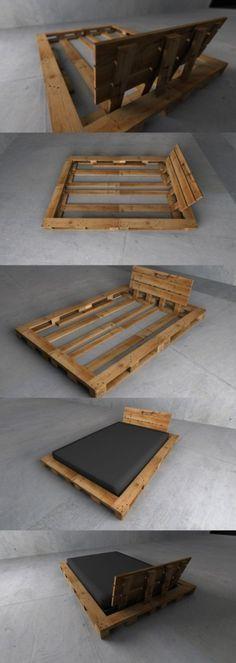 17 best idee n over bett aus europaletten op pinterest palettenbett selber bauen palet bed en. Black Bedroom Furniture Sets. Home Design Ideas