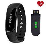 Herzfrequenz Fitness Tracker,CAMTOA ID101 Fitness Armband Pulsuhr Aktivitätstracker Wasserdicht IP67 - Schrittzähler,SMS Anrufe,Kalorienverbrauch,Kamera-Fernbedienung,ID Benachrichtigung,Musiksteuerung und Handy-Suchfunktion(USB Anschluss direkt laden)