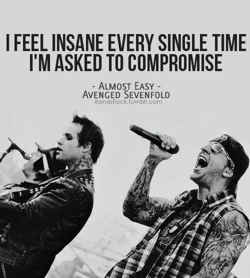 Avenged Sevenfold - Almost easy... ✿  ☻ ☻Letras de canciones #canciones #rock #frases
