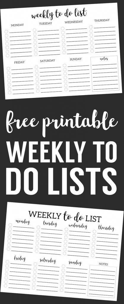 weekly to do list printable checklist template planners and