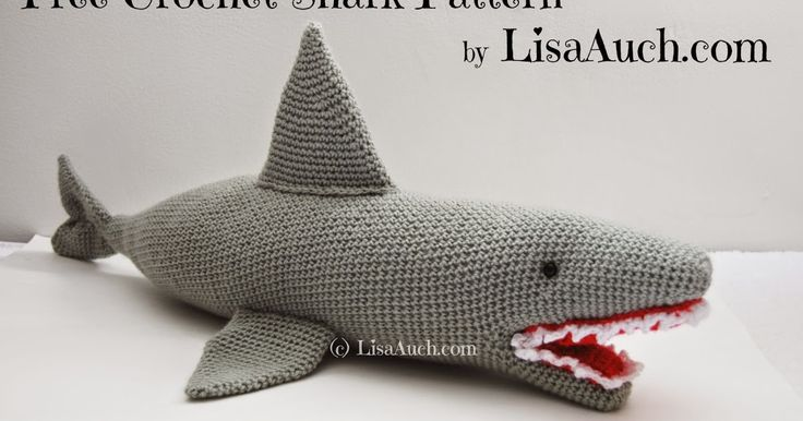 Free Crochet Shark Pattern, crochet a shark with this free crochet pattern, Site has access to 100s of free patterns.