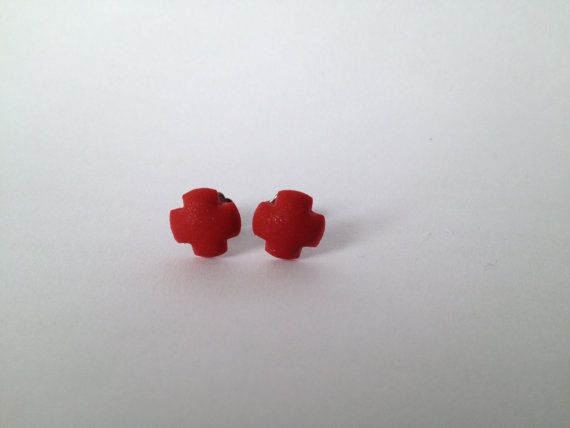 Small Pearl Red Cross Polymer Surgical Steel by FawknerStDesigns, $10.00