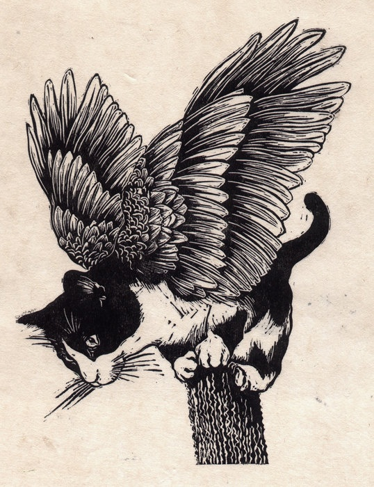 {Flying Cat No:2} Linocut by Carl Harris aka Catboy. @Scarlett Fields just for you :)