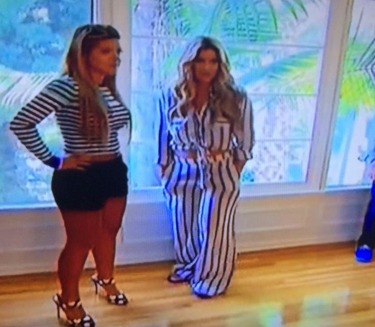 Kim Zolciak's Striped Tie Front Jumpsuit in LA | http://www.bigblondehair.com/real-housewives/kim-zolciaks-striped-tie-front-jumpsuit-in-la/