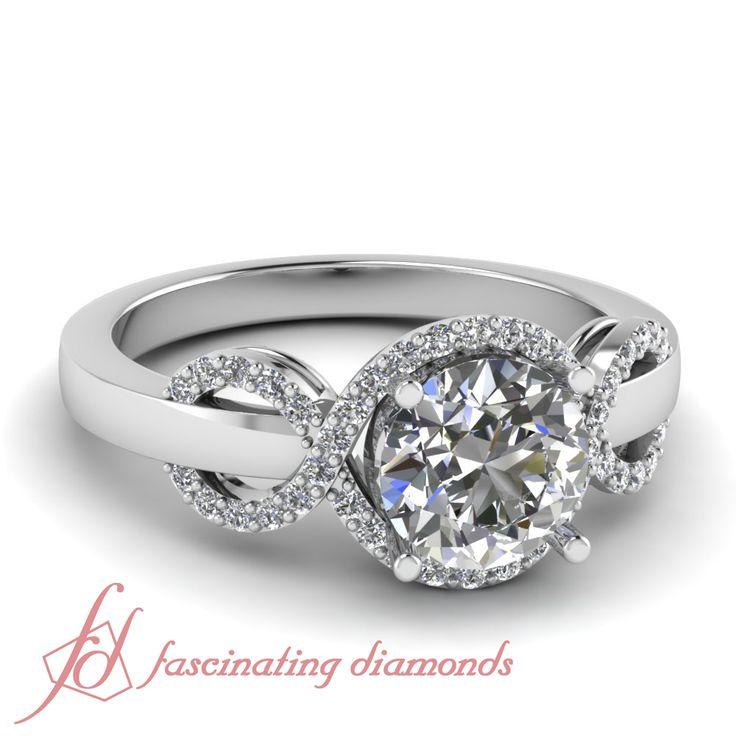 Wave Design Bands: Round Cut Diamond Cross Wave Design Halo Engagement Ring