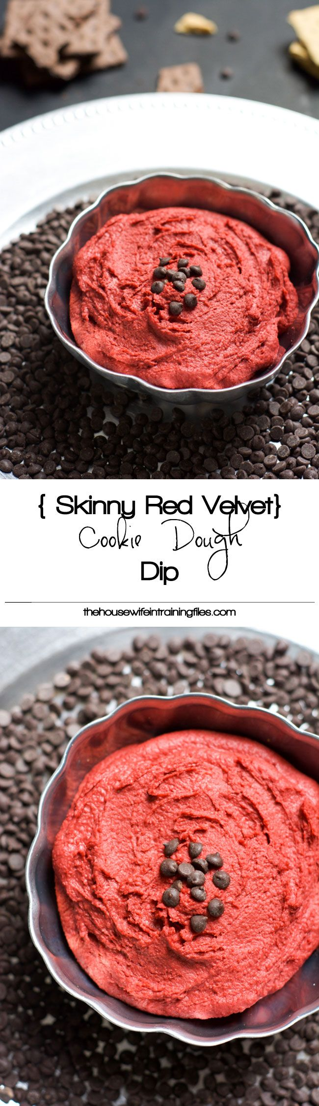 Skinny Red Velvet Cookie dough dip  http://thehousewifeintrainingfiles.com/skinny-red-velvet-cookie-dough-dip/