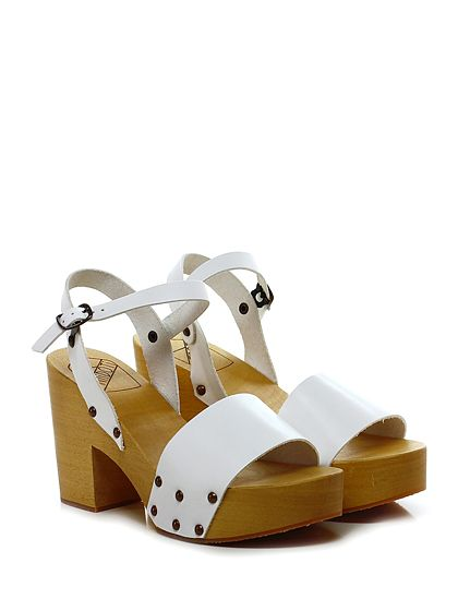 Antidoti - Sandalo alto - Donna - Sandalo alto in pelle con cinturino alla caviglia e suola in gomma. Tacco 95, platform 40 con battuta 55. - BIANCO - € 89.00