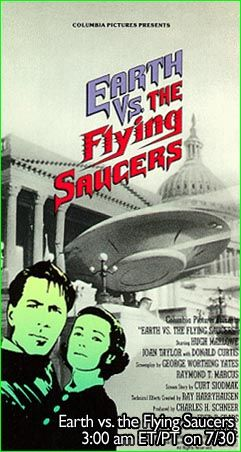 A TV ad for a showing of Earth Vs. The Flying Saucers (1956)