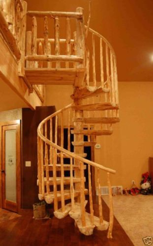 Details About Rustic Log Spiral Staircases/Stairways