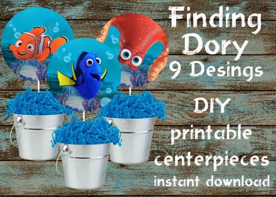 Finding Dory centerpieces, Finding Dory printable centerpieces, Finding Dory party supplies, Finding Dory decorations, Finding Nemo party