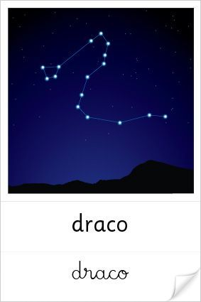 """Draco lies in the northern sky. It is one of the largest constellations in the sky. The constellation's name means """"the dragon"""" in Latin. Draco represents Ladon, the dragon that guarded the gardens of the Hesperides in Greek mythology. Draco is one of the Greek constellations. It was first catalogued by the Greek astronomer Ptolemy in the 2nd century. It is a circumpolar constellation; it never sets below the horizon for many observers in the northern hemisphere."""