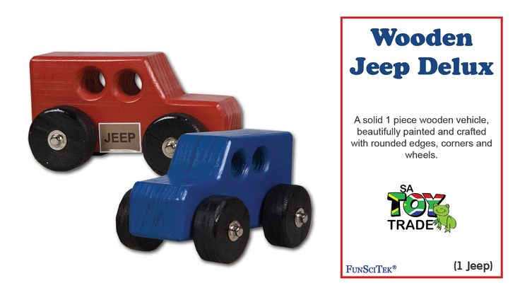 A solid 1 piece wooden vehicle, beautifully painted and crafted with rounded edges, corners and wheels. The Jeep moves with ease and fits nicely into little hands. Children can play with the vehicle by pushing it around on a service, where the wheels will turn and easily move. This product is designed for physical Development with enhance Fine and Gross-motor skills and Fantasy Play. It is applicable for ages 18 months and older.