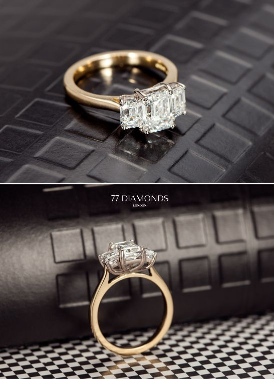Another delightful creation - a bespoke trilogy #engagement ring set with 3 dazzling radiant diamonds. Make an appointment with us to start your beautiful bespoke journey at: http://www.77diamonds.com/