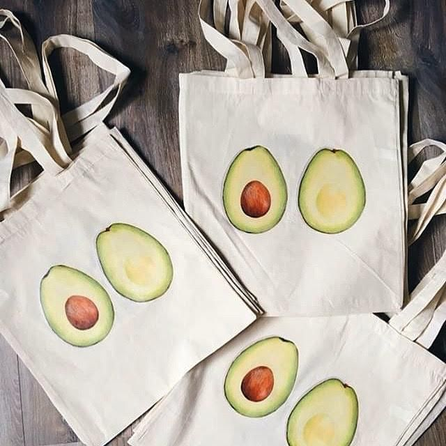 Handmade Avocado Tote Bag