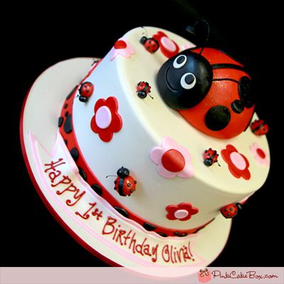 Ladybug Birthday Cake by Pink Cake Box in Denville, NJ.  More photos and videos at http://blog.pinkcakebox.com/hula-girl-birthday-cake-2007-06-09.htm