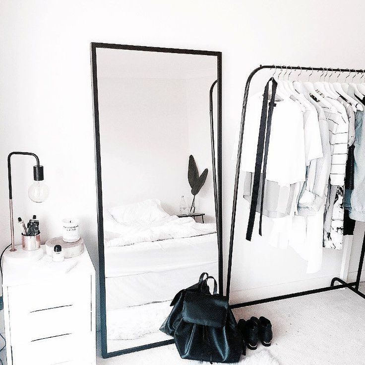 not this style but clothes rack mirror small nightstand in guest room paint clothes rack from attic - Minimal Room Decor