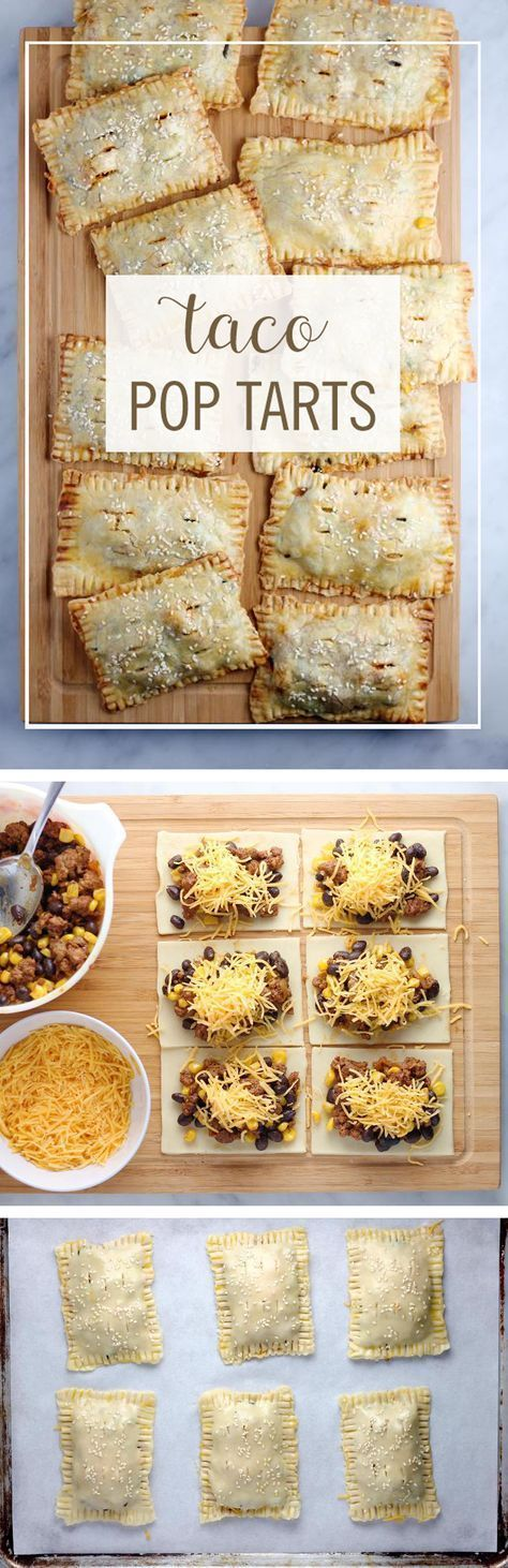 These Taco Pop Tarts are a perfect way to turn your favorite breakfast pastry into dinner. Take your typical taco ingredients and turn them into this delicious on-the-go dinner. Click for the full recipe. In Spanish it would be Empanadas.