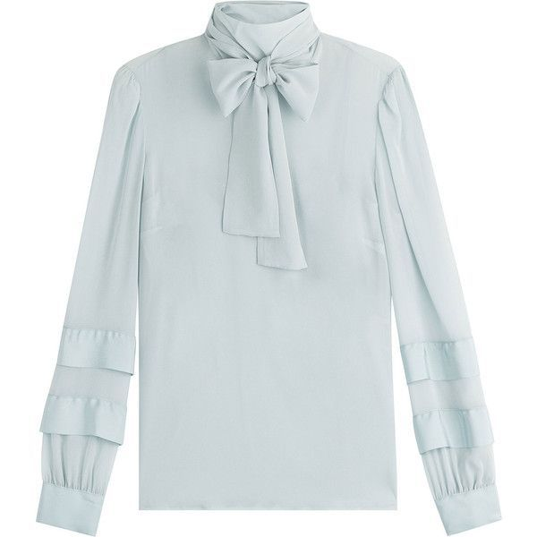 RED Valentino Silk Blouse (526 AUD) ❤ liked on Polyvore featuring tops, blouses, blue, silk button-down blouses, blue silk blouse, blue blouse, high-neck camisoles and silk bow blouse - women's office shirts blouses, blue and white checkered blouse, white long sleeve blouse *ad