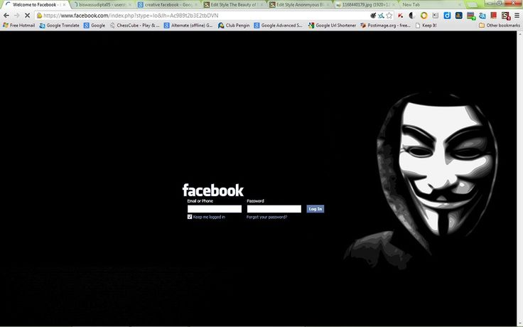 Anonymous Black Facebook Login Page