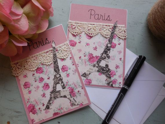 Paris Themed Cards- Eiffel Tower Cards- Handmade Cards- Girl Cards- Paris Greeting Cards- Birthday Paris Cards- Set of Embellished Cards