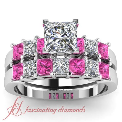 2 Ct Princess Cut Diamond Pink Sapphire Charming Engagement Wedding Rings Set