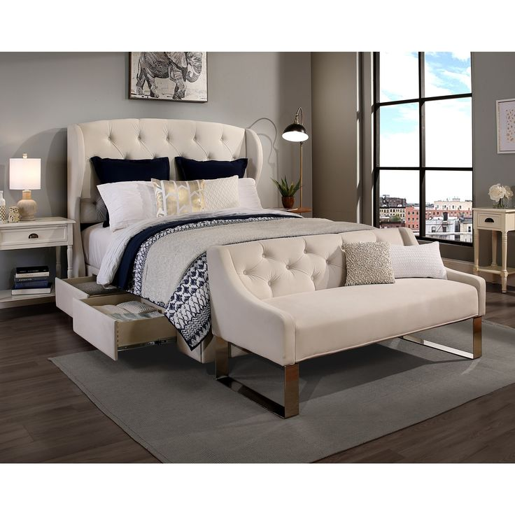 Republic Design House Archer Ivory King Cal Headboard Storage Bed And Tufted Sofa