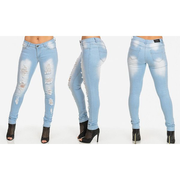 Women's ModaXpressOnline.com Distressed Stretchy Skinny Jeans: Light (2460 ALL) ❤ liked on Polyvore featuring jeans, blue, stretch skinny jeans, white destroyed jeans, white denim skinny jeans, stretch jeans and ripped skinny jeans