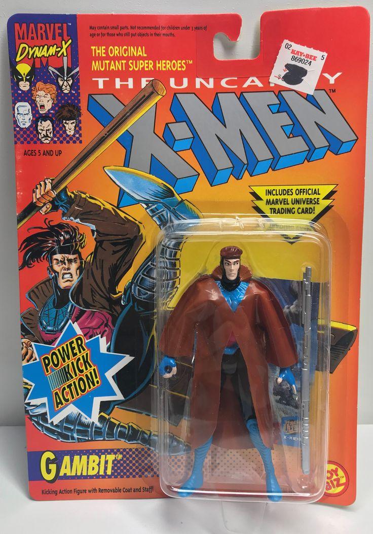 TAS040004 - 1993 Toy Biz Marvel X-Men Action Figure - Gambit Power Kick Action!