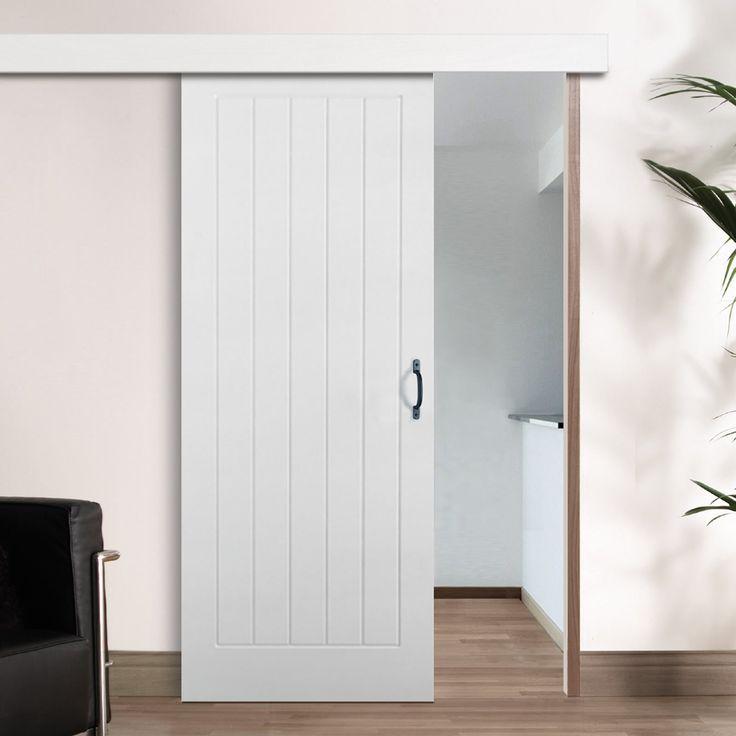 Single Sliding Door Wall Track Textured Vertical 5 Panel Door White Primed Internal Sliding Doors Sliding Doors Sliding Bathroom Doors