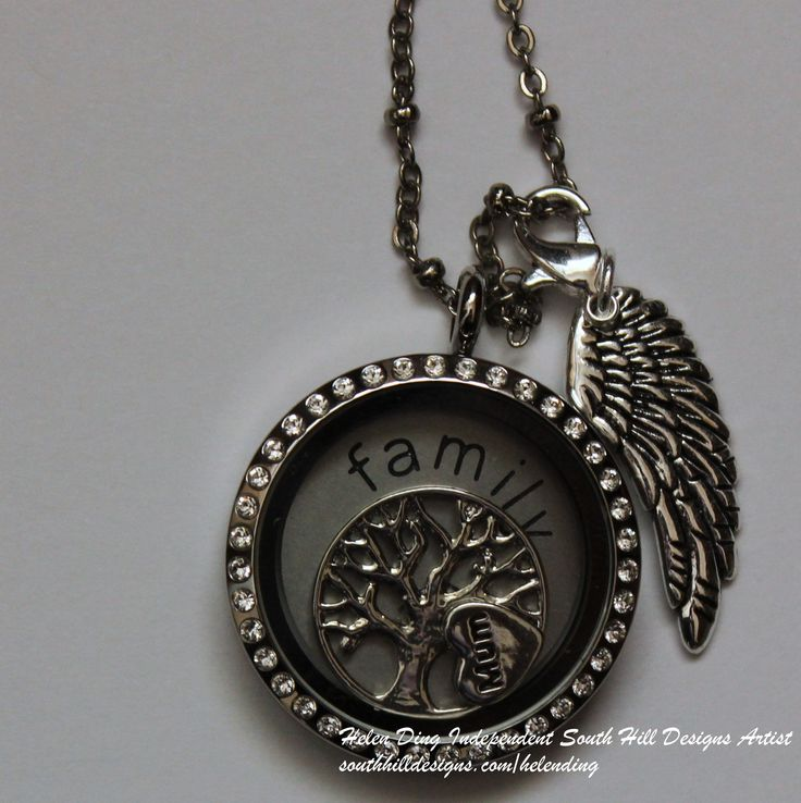 """South Hill Designs Large Silver Locket with Crystals, large silver family coin & medium silver tree of life screen. New Mum charm, and silver angel wing droplet. All on a 32"""" Faceted Bead Chain in Silver. £72.02 click to buy the charms, screen, coins & charms today http://southhilldesigns.com/gb/helending/default"""