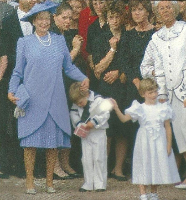 The Queen and a tired William after Andrew and Sarah's wedding 23 July 1986.