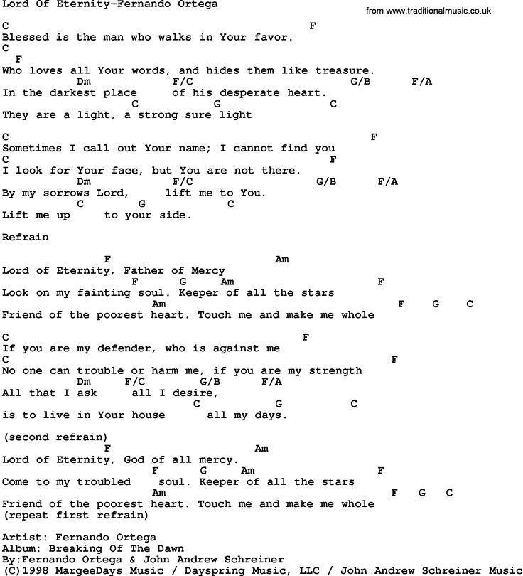 Beauty And The Beast Sheet Music With Lyrics: Gospel Song: Lord Of Eternity-Fernando Ortega, Lyrics And