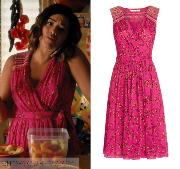 """Jane the Virgin: Season 3 Episode 17 Jane's Pink Floral Wrap Dress 
