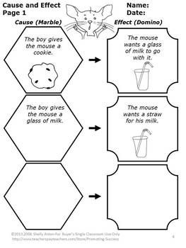 FREE Here is a fantastic cause and effect worksheet from the popular book, If You Give a Mouse a Cookie. This is a complete lesson plan to help students identify cause and effect relationships. This is a 7 page lesson plan including the introduction, development, practice, independent practice, assessment rubric, and worksheets.