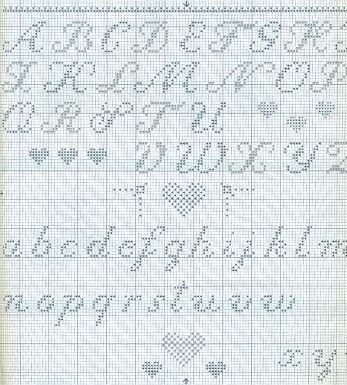 Script cross stitch alphabet upper and lower case