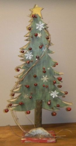 "Primitive Distressed Green Wooden Christmas Tree with Red Bells 24"" H # 5785"