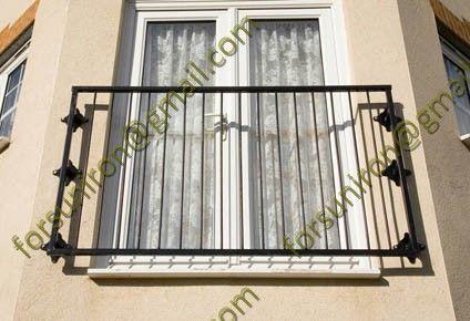 Modern wrought iron window balcony grill design