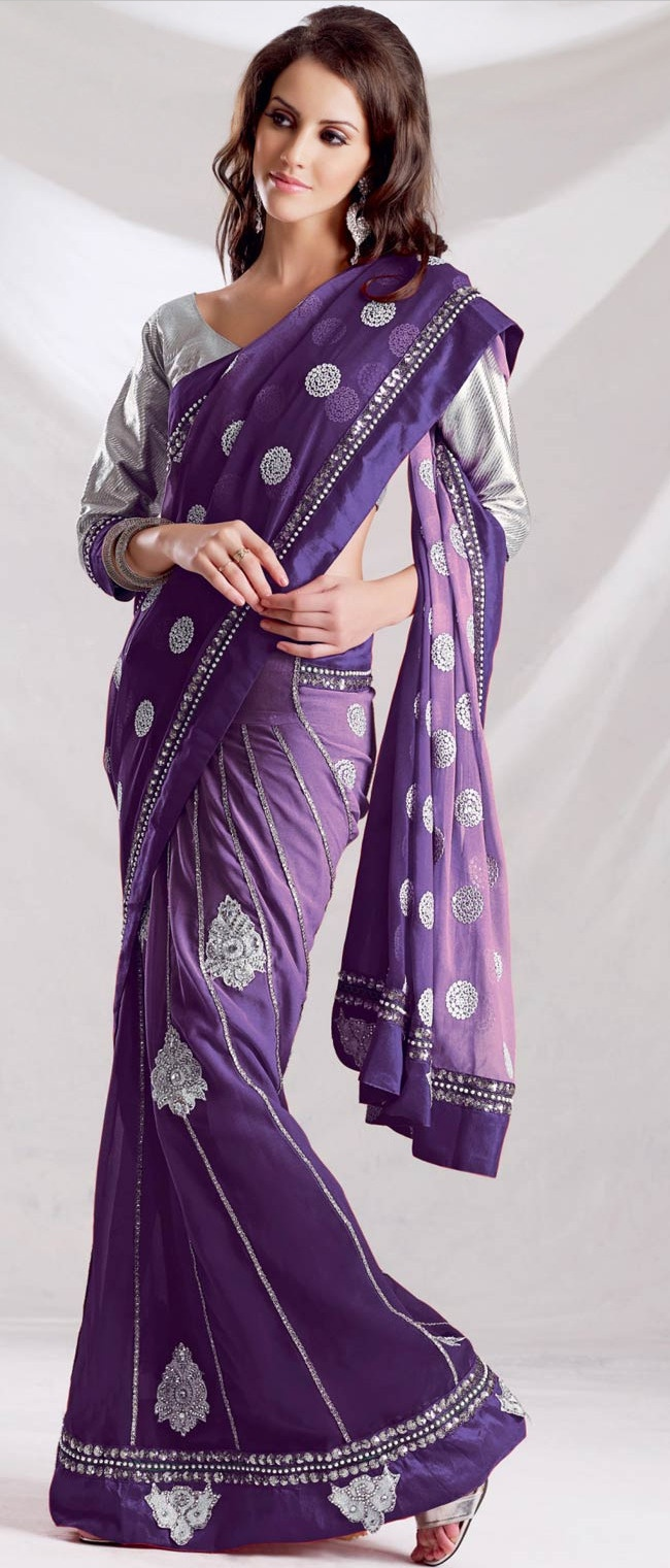 Shaded #Violet Faux Georgette #Lehenga Style #Saree with Blouse @ $94.21