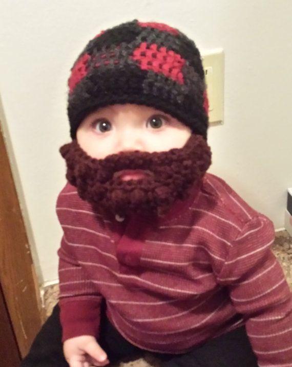 Lumberjack Bearded Beanie with detachable by NataliesBurlapSack