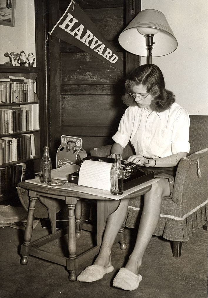 A student studies in her dorm room, Massachusetts, ca. 1950s