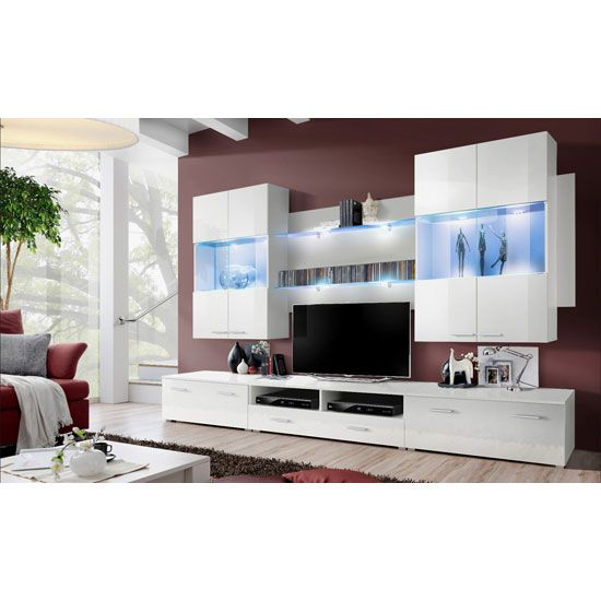 Savona Living Room Set In White Gloss And Matt With LED Lights £799.95