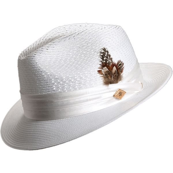Stacy Adams Men's Pinch Front Open Weave Fedora White Hats L ($65) ❤ liked on Polyvore featuring men's fashion, men's accessories, men's hats, white, mens hats, mens fedora hats, mens white fedora and mens wide brim fedora