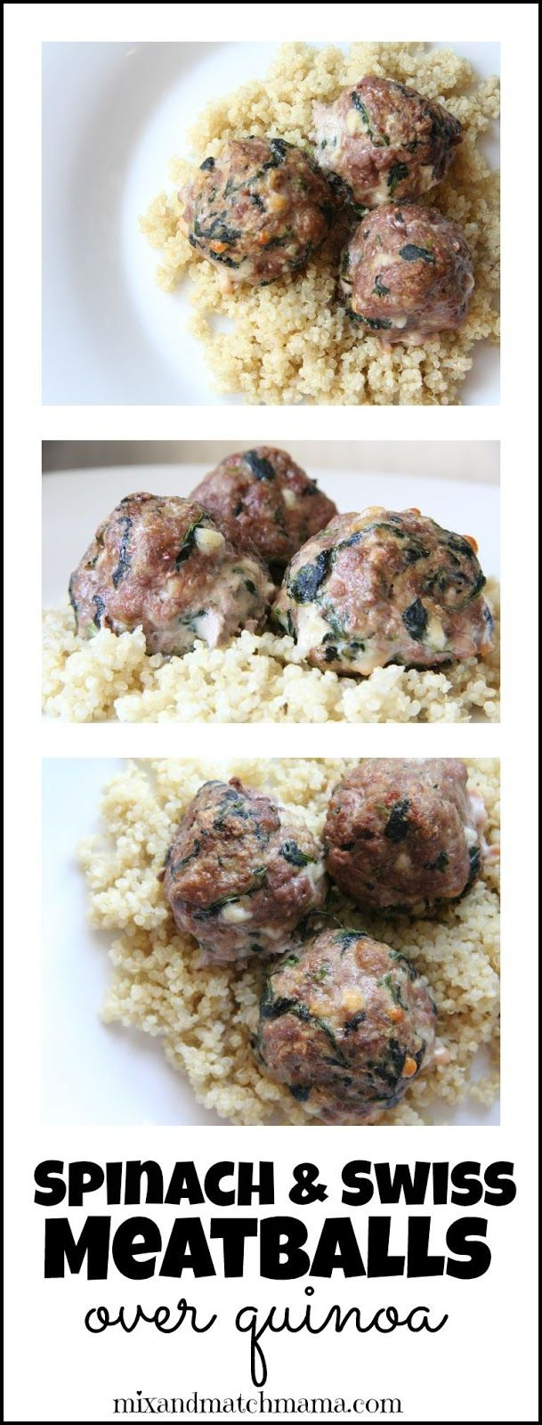 Spinach & Swiss Meatballs over Quinoa for dinner tonight! Your kids will love it and it's so simple to make!: