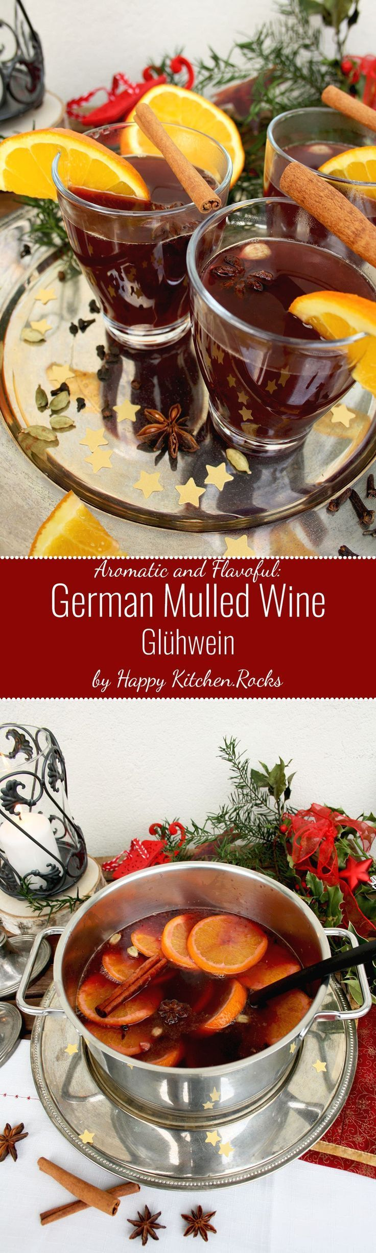 German Mulled Wine (Glühwein) contains all traditional Christmas spices as well as a fruity hint of citrus. It's very easy to make and it looks impressive! {wine glass writer} #christmashints