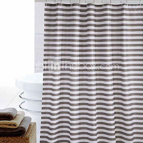 Shower Curtain Polyester Brown Stripes Print Thick Fabric Water Resistant W71 X L71 Stripe