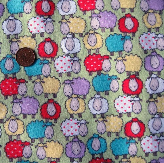 Sheep Flannel Fabric collection   Green  or by Sheepinspiration
