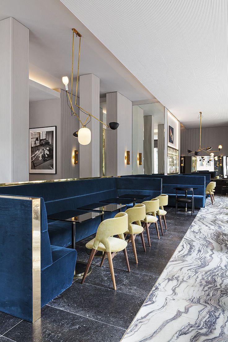 T'a Milano. Modern. Love the blue modern velvet sofa. Blue + lime + gold colour palette.